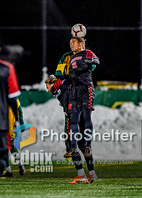 13 November 2019: University of Hartford Hawk Forward Jovanté Etienne, a Junior from Scarborough, Ontario, in action against the University of Vermont Catamounts at Virtue Field in Burlington, Vermont. The Hawks defeated the Catamounts 3-2 in sudden death overtime of the Division 1 Men's Soccer America East matchup. Mandatory Credit: Ed Wolfstein Photo *** RAW (NEF) Image File Available ***