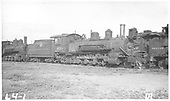 3/4 view of K-27 #450 at Alamosa scrapping.<br /> D&amp;RGW  Alamosa, CO  Taken by Rogers, Donald E. A. - 8/1/1933