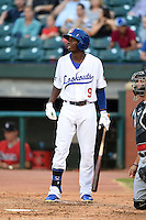 Chattanooga Lookouts second baseman Darnell Sweeney (9) during a game against the Birmingham Barons on April 24, 2014 at AT&T Field in Chattanooga, Tennessee.  Chattanooga defeated Birmingham 5-4.  (Mike Janes/Four Seam Images)