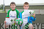 Steven James and Gavin Everitt with their certs after completing the FAI soccer camp at Mounthawk Park on Friday.