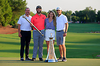 Jon Rahm (ESP) winner of the DP World Tour Championship and Race to Dubai with fiance Kelly and team at the Jumeirah Golf Estates, Dubai, United Arab Emirates. 24/11/2019<br /> Picture: Golffile | Fran Caffrey<br /> <br /> <br /> All photo usage must carry mandatory copyright credit (© Golffile | Fran Caffrey)
