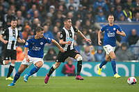 Miguel Almiron of Newcastle United moves from Dennis Praet of Leicester City during the Premier League match between Leicester City and Newcastle United at the King Power Stadium, Leicester, England on 29 September 2019. Photo by Andy Rowland.