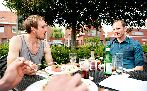 German professional road bicycle racer John Degenkolb with Belgian football player Tim Matthys (Belgium, 29/07/2014)