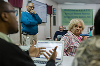 Elsie Herring, who lives feet from a hog waste spray field, at a REACH meeting that organizes the community against CAFOs in Warsaw, North Carolina Wednesday, November 14, 2018. (Justin Cook)