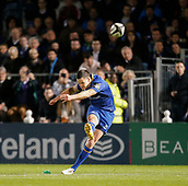 29th September 2017, RDS Arena, Dublin, Ireland; Guinness Pro14 Rugby, Leinster Rugby versus Edinburgh; Johnny Sexton (c) of Leinster converting the try