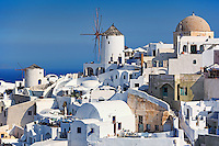 The famous windmills in Oia of Santorini, Greece