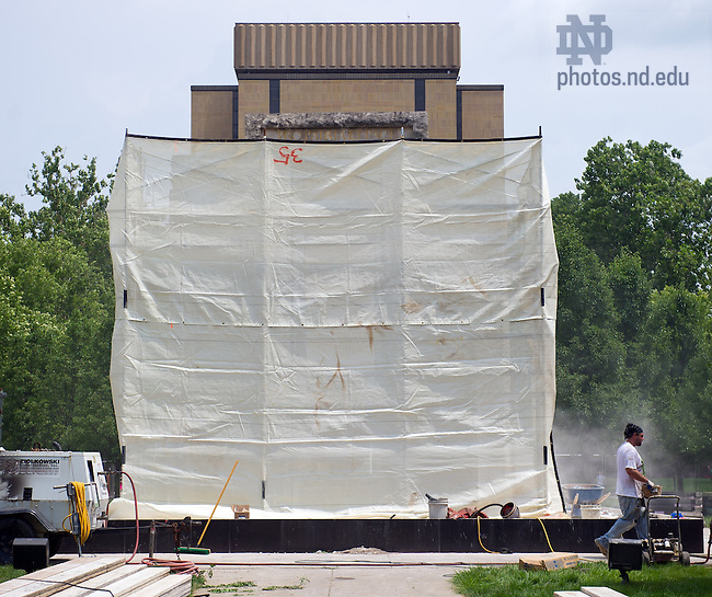 Jul. 9, 2013; Renovation work on the Clarke Memorial Fountain.<br /> <br /> Photo by Matt Cashore/University of Notre Dame