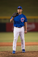 AZL Cubs 1 starting pitcher Didier Vargas (40) delivers a pitch during an Arizona League game against the AZL Diamondbacks at Sloan Park on June 18, 2018 in Mesa, Arizona. AZL Diamondbacks defeated AZL Cubs 1 7-0. (Zachary Lucy/Four Seam Images)