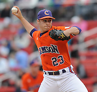 May 11, 2009: RHP Justin Sarratt (23) of the Clemson Tigers pitches in a game against the Furman Paladins at Fluor Field at the West End in Greenville, S.C. Photo by: Tom Priddy/Four Seam Images