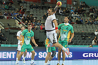 18.01.2013 Barcelona, Spain. IHF men's world championship, prelimanary round. Picture show Mladen Rakcevic   in action during game between Montenegro vs Brazil at Palau St Jordi