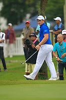 Paul Dunne (Europe) on the 9th green during the Friday Foursomes of the Eurasia Cup at Glenmarie Golf and Country Club on the 12th January 2018.<br /> Picture:  Thos Caffrey / www.golffile.ie