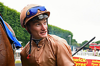 Jockey Daniel Muscutt during Ladies Evening Racing at Salisbury Racecourse on 15th July 2017