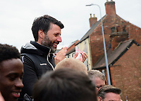 Lincoln City manager Danny Cowley during the open top bus tour to celebrate the club winning the EFL Sky Bet League Two<br /> <br /> Photographer Andrew Vaughan/CameraSport<br /> <br /> The EFL Sky Bet League Two - Lincoln City - Champions Parade - Sunday 5th May 2019 - Lincoln<br /> <br /> World Copyright © 2019 CameraSport. All rights reserved. 43 Linden Ave. Countesthorpe. Leicester. England. LE8 5PG - Tel: +44 (0) 116 277 4147 - admin@camerasport.com - www.camerasport.com