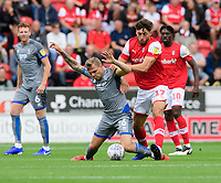 Lincoln City's Harry Anderson is tackled by Rotherham United's Matt Crooks<br /> <br /> Photographer Chris Vaughan/CameraSport<br /> <br /> The EFL Sky Bet Championship - Rotherham United v Lincoln City - Saturday 10th August 2019 - New York Stadium - Rotherham<br /> <br /> World Copyright © 2019 CameraSport. All rights reserved. 43 Linden Ave. Countesthorpe. Leicester. England. LE8 5PG - Tel: +44 (0) 116 277 4147 - admin@camerasport.com - www.camerasport.com