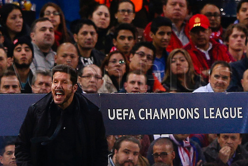 13.04.2016. Madrid, Spain.  Diego Pablo Simeone Coach of Atletico de Madrid UCL Champions League between Atletico de Madrid and FC Barcelona at the Vicente Calderon stadium in Madrid, S.pain, April 13, 2016 .