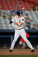 Connecticut Tigers center fielder Clark Brinkman (10) at bat during a game against the Lowell Spinners on August 26, 2018 at Dodd Stadium in Norwich, Connecticut.  Connecticut defeated Lowell 11-3.  (Mike Janes/Four Seam Images)