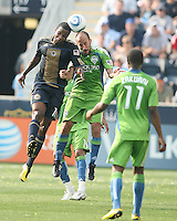 Danny Mwanga #10 of the Philadelphia Union goes up for a header against Peter Vagenas #8 of the Seattle Sounders FC during the first MLS match at PPL stadium in Chester, PA. on June 27 2010. Union won 3-2.