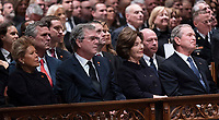 December 5, 2018 - Washington, DC, United States: Columba Bush, Jeb Bush, Laura Bush and George W. Bush attend the state funeral service of former President George W. Bush at the National Cathedral. <br /> Credit: Chris Kleponis / Pool via CNP / MediaPunch