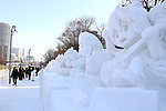 February 3, 2019, Sapporo, Japan - Visitors admire snow sculptures displayed at the 70th annual Sapporo Snow Festival in Sapporo in Japan's nortern island of Hokkaido on Sunday, February 3, 2019. The week-long snow festival will open on February 4 through February 11 and over 2.5 million people are expecting to visit the festival.   (Photo by Yoshio Tsunoda/AFLO) LWX -ytd-