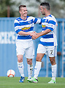 Morton's Archie Campbell celebrates with Dougie Imrie after he scores their sixth goal.