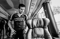 Simon Yates (GBR/Mitchelton-Scott) getting ready on the teambus<br /> <br /> Stage 15: Limoux to Foix (185km)<br /> 106th Tour de France 2019 (2.UWT)<br /> <br /> ©kramon