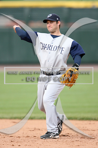 May 10, 2009:  Second Baseman Keith Ginter of the Charlotte Knights, Triple-A International League affiliate of the Chicago White Sox, throws to first during a game at Frontier Field in Rochester, NY.  Photo by:  Mike Janes/Four Seam Images