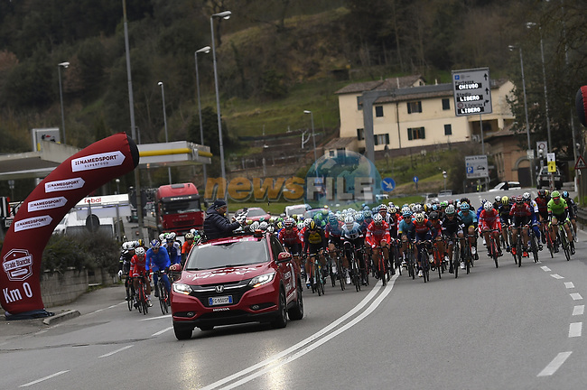 The start of the 2017 Strade Bianche running 175km from Siena to Siena, Tuscany, Italy 4th March 2017.<br /> Picture: La Presse/Fabio Ferrari | Newsfile<br /> <br /> <br /> All photos usage must carry mandatory copyright credit (&copy; Newsfile | La Presse)
