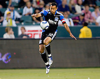 San Jose Earthquakes defender Ramiro Corrales (12) looks to clear a ball. The LA Galaxy and the San Jose Earthquakes played to a 2-2 draw at Home Depot Center stadium in Carson, California on Thursday July 22, 2010.