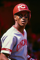 SAN FRANCISCO, CA - Eric Davis of the Cincinnati Reds in action during a game against the San Francisco Giants at Candlestick Park in San Francisco, California in 1987. Photo by Brad Mangin