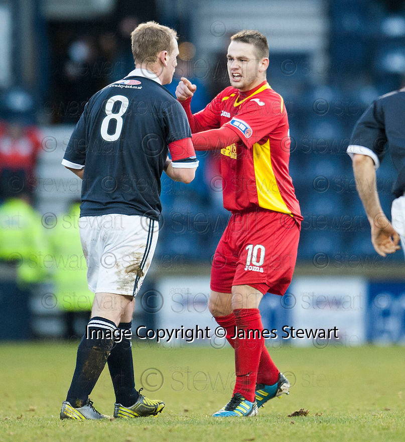 Pars' Ryan Wallace reacts to Raith's Allan Walker' two footed tackle on which resulted in a straight red for Walker ....