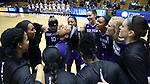 DURHAM, NC - NOVEMBER 16: High Point players huddle before the start of the game. The Duke University Blue Devils hosted the High Point University Panthers on November 16, 2017 at Cameron Indoor Stadium in Durham, NC in a Division I women's college basketball game. Duke won the game 77-50.