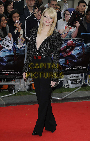 Emma Stone.The 'The Amazing Spider-Man' UK film premiere, Odeon Leicester Square cinema, London, England..June 18th, 2012.full length black sparkly beads beaded plunging neckline top red belt trousers shoulder pads .CAP/CAN.©Can Nguyen/Capital Pictures.
