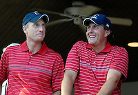 Jim Furyk and Phil Mickelson enjoy the celebrations at the clubhouse victory over Europe after the Singles on the Final Day of the Ryder Cup at Valhalla Golf Club, Louisville, Kentucky, USA, 21st September 2008 (Photo by Eoin Clarke/GOLFFILE)