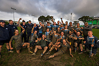 Massey celebrates winning the Manawatu colts club rugby Gordon Brown Memorial Cup Final between Wanganui Metro and Massey White at Arena Manawatu in Palmerston North, New Zealand on Saturday, 22 July 2017. Photo: Dave Lintott / lintottphoto.co.nz
