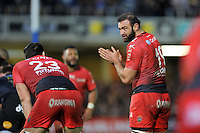 Mamuka Gorgodze of Toulon speaks to team-mate Thibault Lassale. European Rugby Champions Cup match, between Bath Rugby and RC Toulon on January 23, 2016 at the Recreation Ground in Bath, England. Photo by: Patrick Khachfe / Onside Images