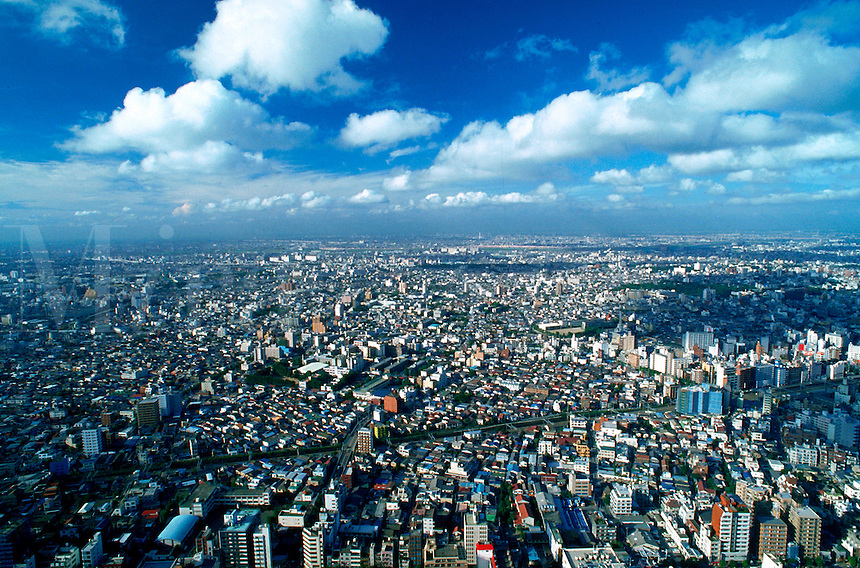 Aerial, panoramic view of Tokyo city under wide blue sky and clouds. Tokyo, Japan.