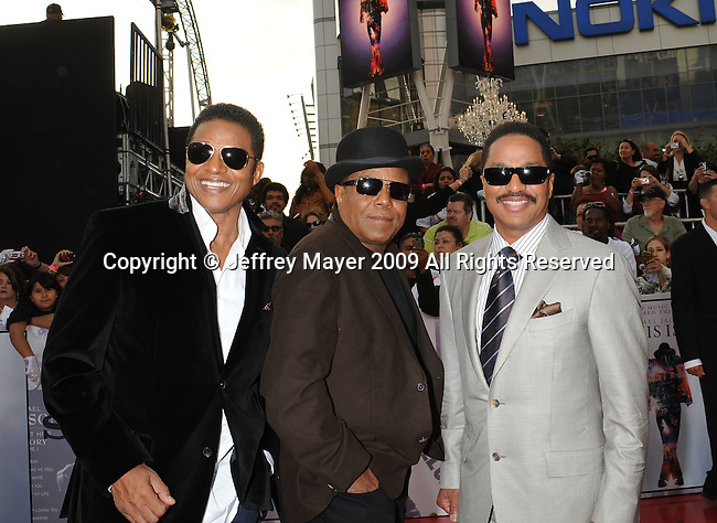 """LOS ANGELES, CA. - October 27: Jackie Jackson, Tito Jackson and Marlon Jackson  arrive at the Los Angeles Premiere of """"This Is It"""" held at Nokia Theatre L.A. Live on October 27, 2009 in Los Angeles, California."""