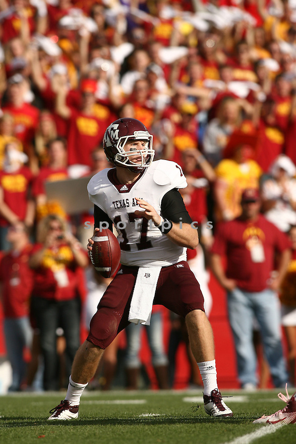 RYAN TANNEHILL, of the Texas A&M Aggies, in action during Texas A&Ms game against the Iowa State Cyclones on October 22, 2011 at Jack Trice Stadium in Ames, IA. Texas A&M beat Iowa State 33-17.