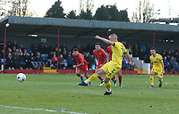 Fleetwood Town's Paddy Madden scores his sides third goal<br /> <br /> Photographer Rachel Holborn/CameraSport<br /> <br /> Emirates FA Cup First Round - Alfreton Town v Fleetwood Town - Sunday 11th November 2018 - North Street - Alfreton<br />  <br /> World Copyright &copy; 2018 CameraSport. All rights reserved. 43 Linden Ave. Countesthorpe. Leicester. England. LE8 5PG - Tel: +44 (0) 116 277 4147 - admin@camerasport.com - www.camerasport.com