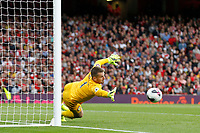 Thomas Heaton of Aston Villa stretches for the shot from Mattéo Guendouzi of Arsenal during the Premier League match between Arsenal and Aston Villa at the Emirates Stadium, London, England on 22 September 2019. Photo by Carlton Myrie / PRiME Media Images.