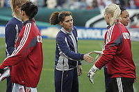 06 November,  2004.  USWNT forward Mia Hamm shakes the hand of a Denmark player at the start of the match at  Lincoln Financial Field in Philadelphia, Pa.