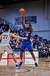9 February 2019: University at Albany Great Dane Forward Devonte Campbell, a Senior from Vaughan, Ontario, in second-half action against the University of Vermont Catamounts at Patrick Gymnasium in Burlington, Vermont. The Catamounts defeated the Danes 67-49 in their America East matchup. Mandatory Credit: Ed Wolfstein Photo *** RAW (NEF) Image File Available ***