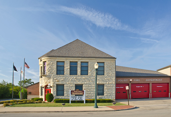 Joliet Downtown Fire Station is backed by a bright summer blue sky, Joliet, Illinois