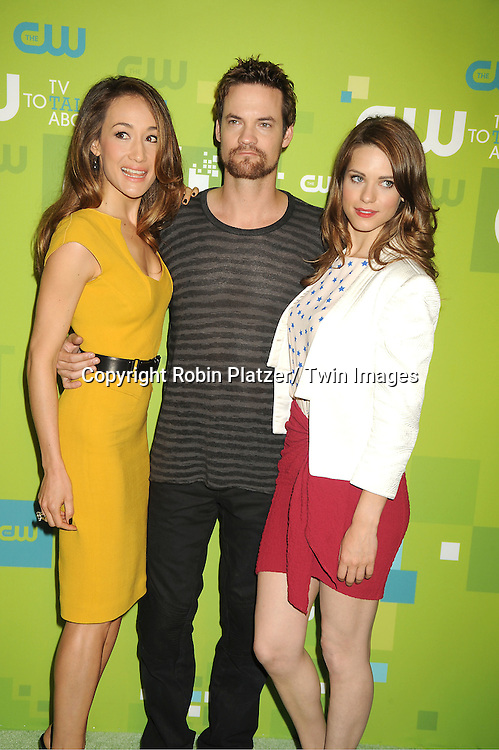 """Maggie Q, Shane West and Lyndsy Fonseca of """"Nikita"""" attending The CW 2011 Upfront on May 19, 2011 at Jazz at Lincoln Center in New York City."""