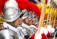 Swiss Guards line up as they wait for Pope Francis to preside over Easter Mass in St. Peter's Square at the Vatican, April 21, 2019.<br /> UPDATE IMAGES PRESS/Riccardo De Luca<br /> <br /> STRICTLY ONLY FOR EDITORIAL USE