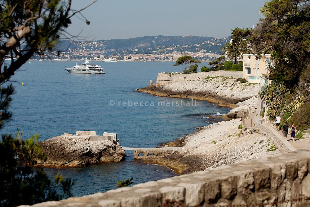 Coastal footpath, Cap d'Ail, France, 6 July 2013. Saint Jean Cap Ferrat can be seen in the background.