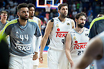 Real Madrid's Jeffery Taylor, Felipe Reyes and Sergio Llull during the first match of the playoff at Barclaycard Center in Madrid. May 27, 2016. (ALTERPHOTOS/BorjaB.Hojas)
