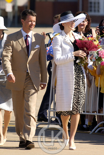 Crown Prince Frederik & Crown Princess Mary of Denmark arrive at the 34 Squadron Terminal, Canberra, during their 2-week visit to Australia..