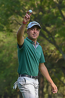 Justin Thomas (USA) thanks the crowd for its response to him holing out his approach shot on 18 during round 4 of the World Golf Championships, Mexico, Club De Golf Chapultepec, Mexico City, Mexico. 3/4/2018.<br /> Picture: Golffile | Ken Murray<br /> <br /> <br /> All photo usage must carry mandatory copyright credit (&copy; Golffile | Ken Murray)
