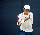 June 13th 2017, Nottingham, England; ATP Aegon Nottingham Open Tennis Tournament day 2;  Go Soeda of Japan in action against Lloyd Glasspool of Great Britain